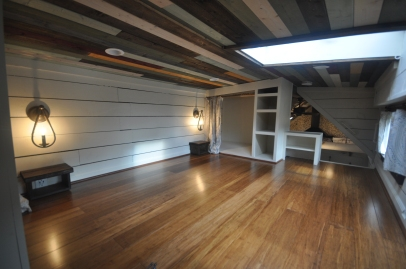 Master loft with his/hers closets